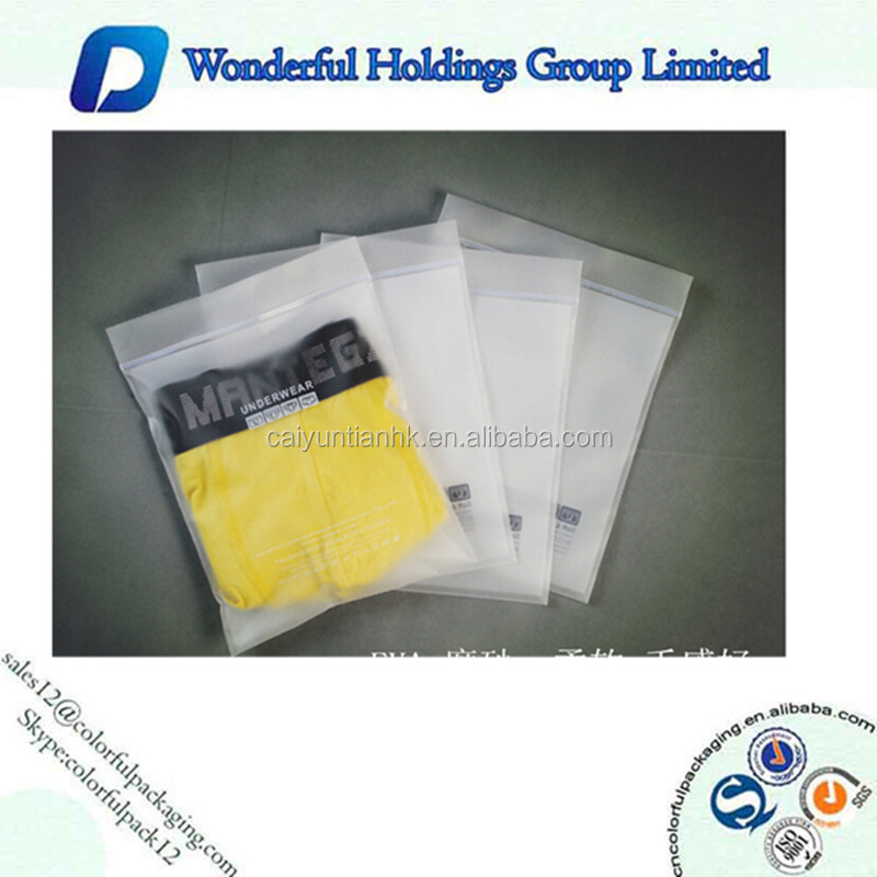 China Custom Printed Heat Sealed Plastic Bags For Clothes Packaging With Sliding zipper
