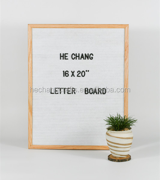 "16x20`` <strong>Oak</strong> Frame Letter Board White Felt with 3/4"" letters"