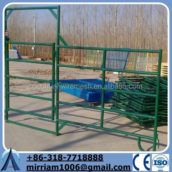 Baochuan livestock cattle/farm/ranch fence panel gates/6 rails horse fencing(China Factory&Suppier)