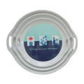 Superior stain and scratch resistance round shape melamine tray with handles