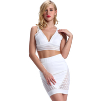 Alibaba China Clothing Round Neck Sleeveless Crop Top + High Waisted Women Clothing