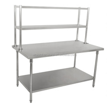 Whole sales 2-tier stainless steel work table with top shelf
