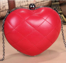 2013 new! heart-shape party clutch bag, pu leather purse for girls