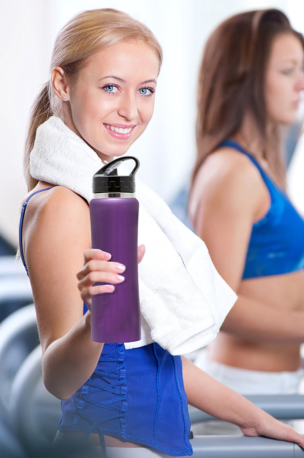 DS10 Stainless Steel Insulated Water Bottle with flip straw and sweat-proof rubber grip. 24oz H2O Sports drinking bottle