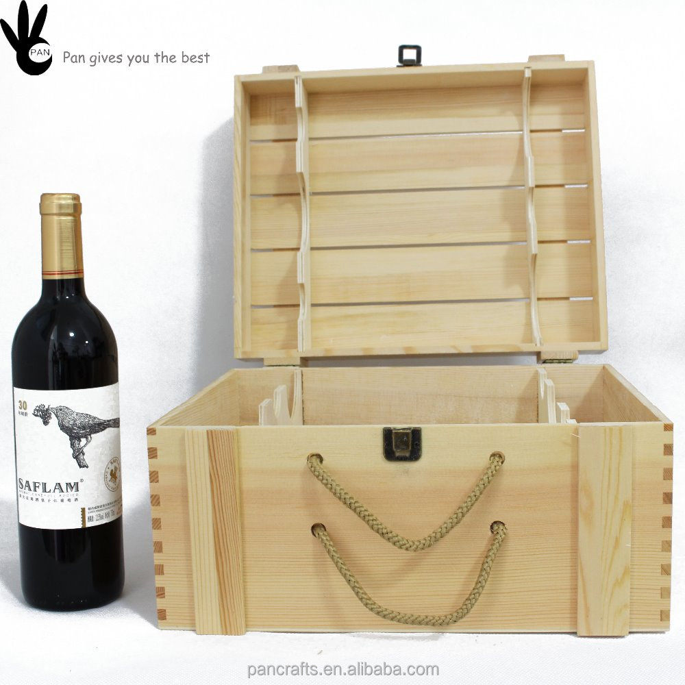 Cheap 6 bottle natural color strong wooden cheap wine box