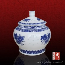 Modern style blue and white porcelain tea coffee sugar canister set for europe market