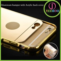 luxury mobile phone back cover aluminum bumper mirror back cover case for iPhone 6s