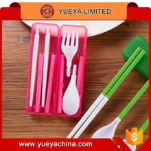 portable folding chopsticks forks spoon set with case-pink