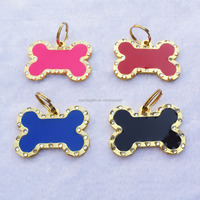 Large Size Epoxy Coated Metal Enamel Pet Tags Crystal Stone Dog Tags Pink Red Black Dark Blue