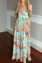 ShiJ 2017 Summer Latest Backless Floral Print Women Long Chiffon Maxi Dresses