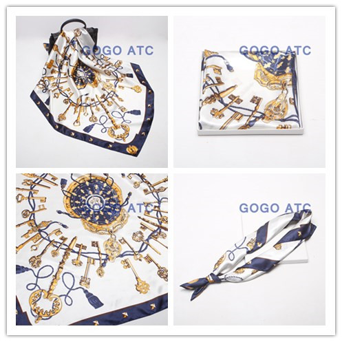 90x90 Digital Print Custom Square Logo Print Silk Twill Satin Scarf for Lady