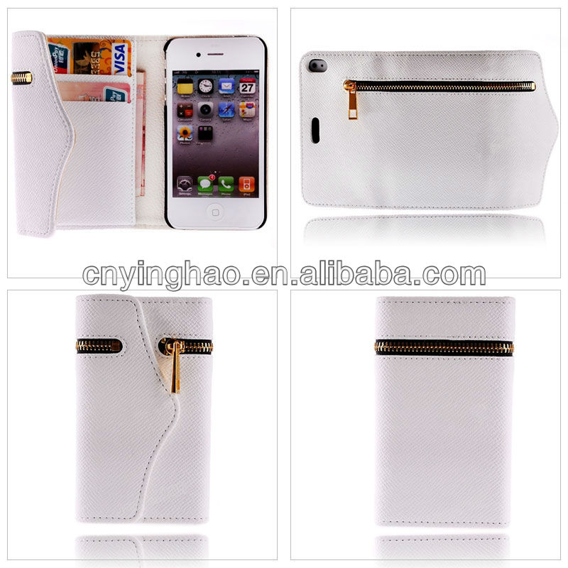 leather flip Card Slot Cover Case Wallet For Apple iPhone 4 4G