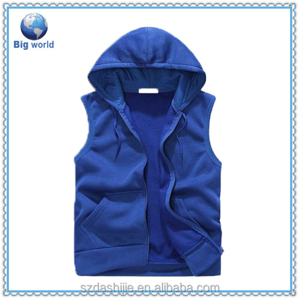 2015 high quality 100% cotton Gym Hoodie, sleeveless hoodie t shirt , Hoodies for Men