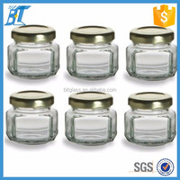 Xuzhou made 1.5 oz Mini clear hexagon glass jar with gold airtight metal lid for jam