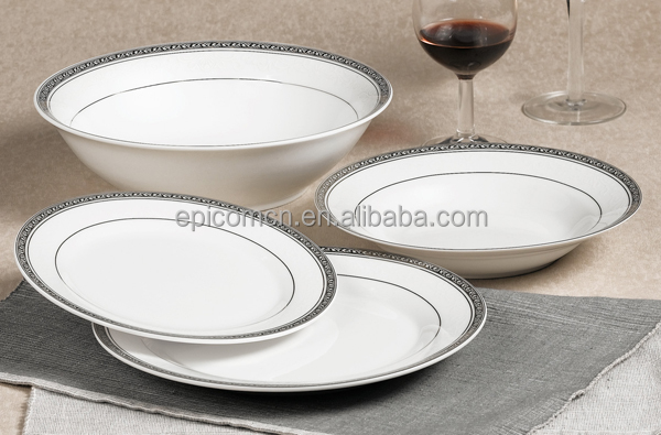 upmarket top grade quality silver rim 19pcs round tableware porcelain company