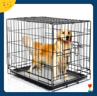 Heavy Duty Small Animal Dog Kennel Cage without Bottom Grate, 20-Inch, Black