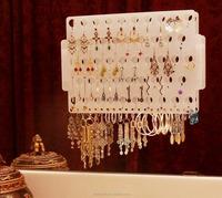 Acrylic Wall Mount Earring Holder Organizer Closet Jewelry Storage Rack Display Holder