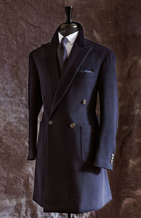 Made to measure double breasted warm cashmere used long winter coats for men