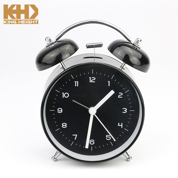 "KH-0246 King Height Wholesale Thanksgiving Gift Home&Office Decor Night Light 4"" Metal Antique Table Clock with Twin Bell"