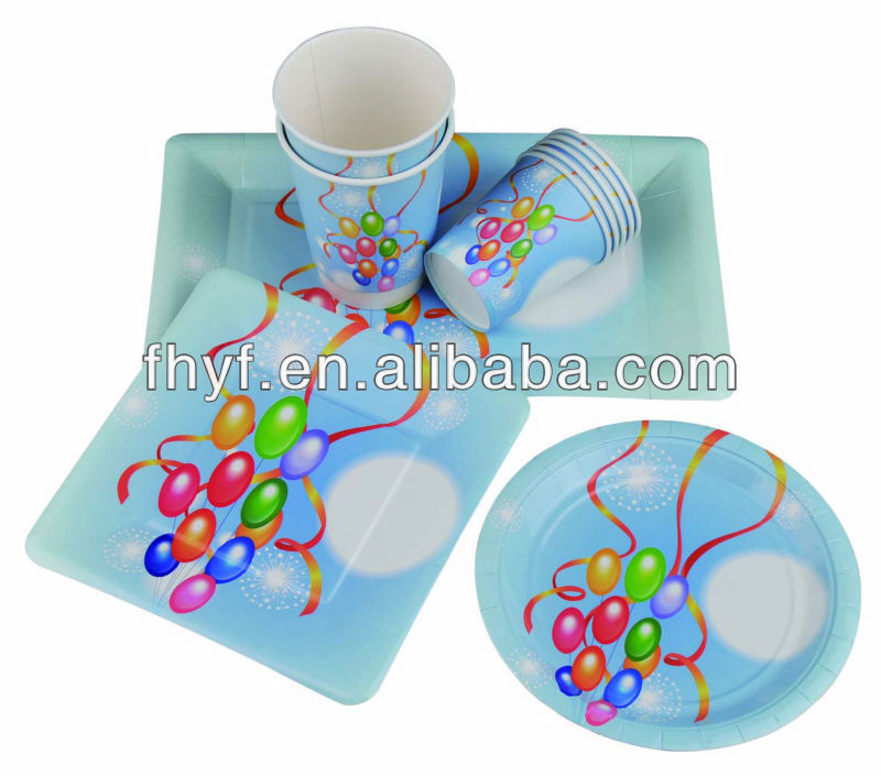 Birth day party designed disposable paper cups plates sets