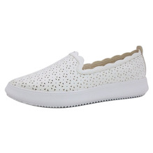 Comfortable ladies slip on lightweight casual shoes white laser cut sneakers for women