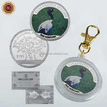 WR Black-necked Crane Silver Plated Metal Coin Commemorative Customized Animal Design Art Crafts with Key Ring