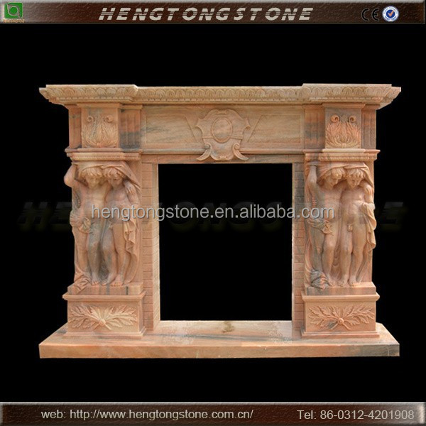 Stone Carving Fireplace with Boy Statue (indoor decoration)