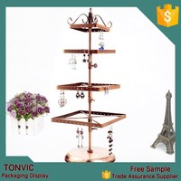 Bronze 4 Tiers Rotatable Rotating Square Earrings Jewelry Display Stand Earring Hanging Hanger Rack
