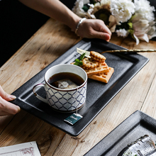 High quality western tableware black rectangular ceramic steak <strong>plates</strong>