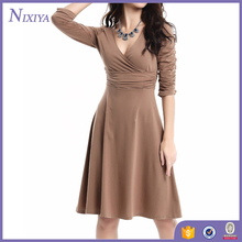 Wholesale Long Sleeve V-neck Sexy Office Lady Wear Dress
