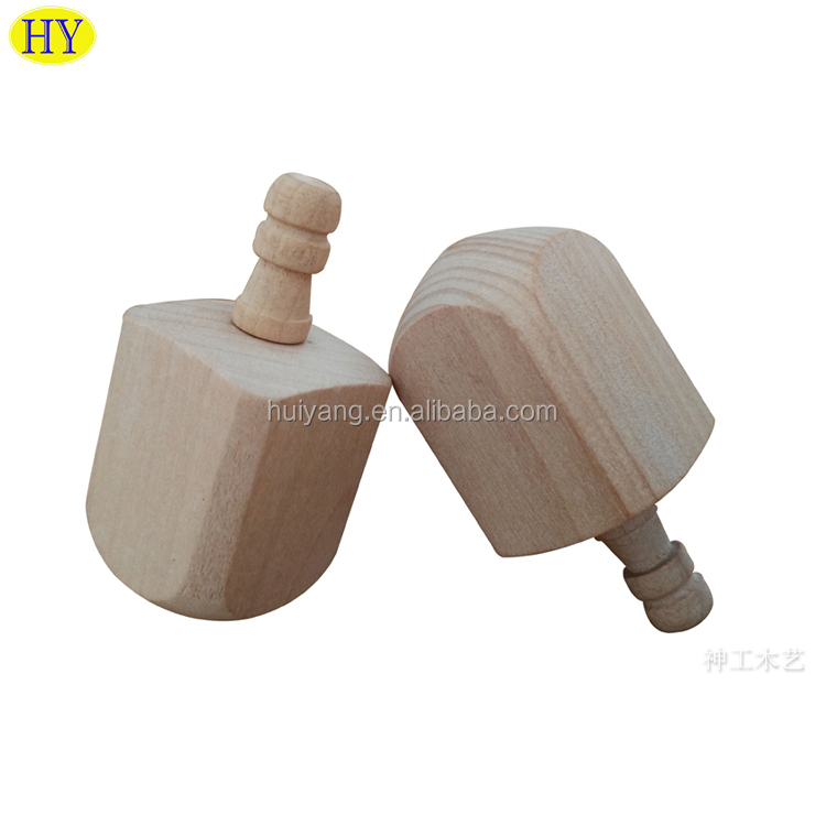 Factory Supply Custom Unfinished Wooden Hanukkah Dreidel