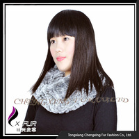 CX-B-76D Direct Wholesale Rex Rabbit Fur Knitted Shawl Scarf