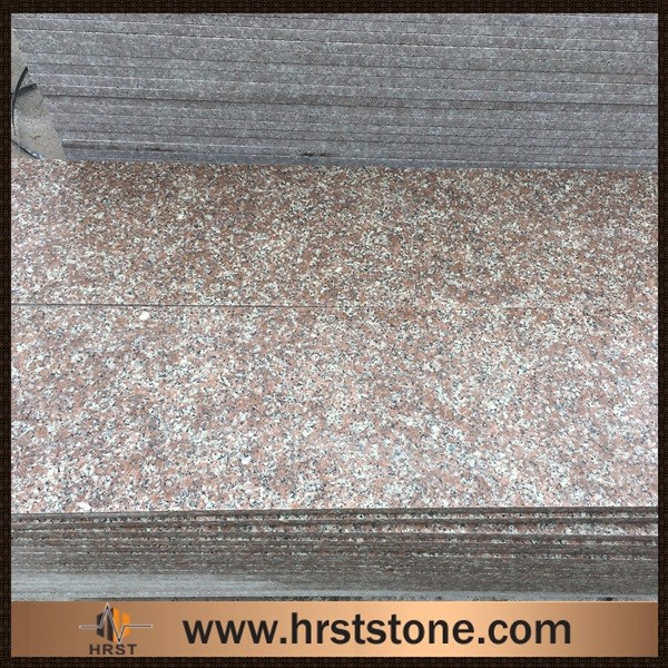 Cut edge polished Chinese peach red granite G687 stair tiles