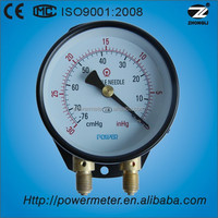 High quality -30~0 inHg scale range 4 inch dual fitting bottom duplex pressure gauge