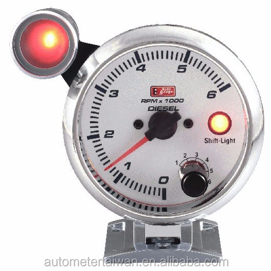 "3 3/4"" tachometer for deisel with white face &chrome rim / 0~6,000 rpm/ with ourtside warning light"