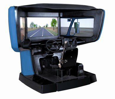 Motorcycle driving simulator with right side steering system or left