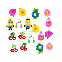 Cute Loom Charms Bands Pendant Bracelet Mix Smart Rubber Charms with Metal Loop For Loom Bands Diy Bracelet