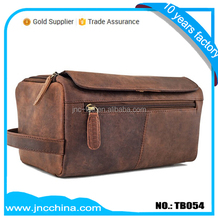 Retro Leather Camping travel luggage bags with laptop zip compartment