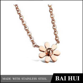 In Stock Wholesale Retro Fashion Stainless steel Rose Gold Necklace