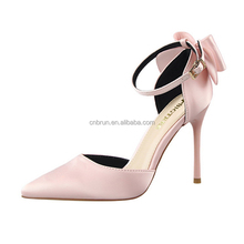 Women High Heels Shoes Satin Upper Material Pointed Toe D'orsay Shoes Girls Dress Shoes Party Pumps