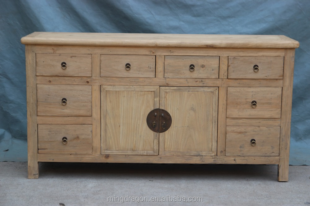 Chinese antique natural recycle wood bleached kitchen for Bleached wood kitchen cabinets