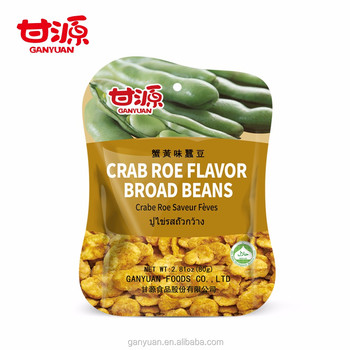 2017 HACCP&FDA hot sales crab roe flavor coated broad bean snack foods