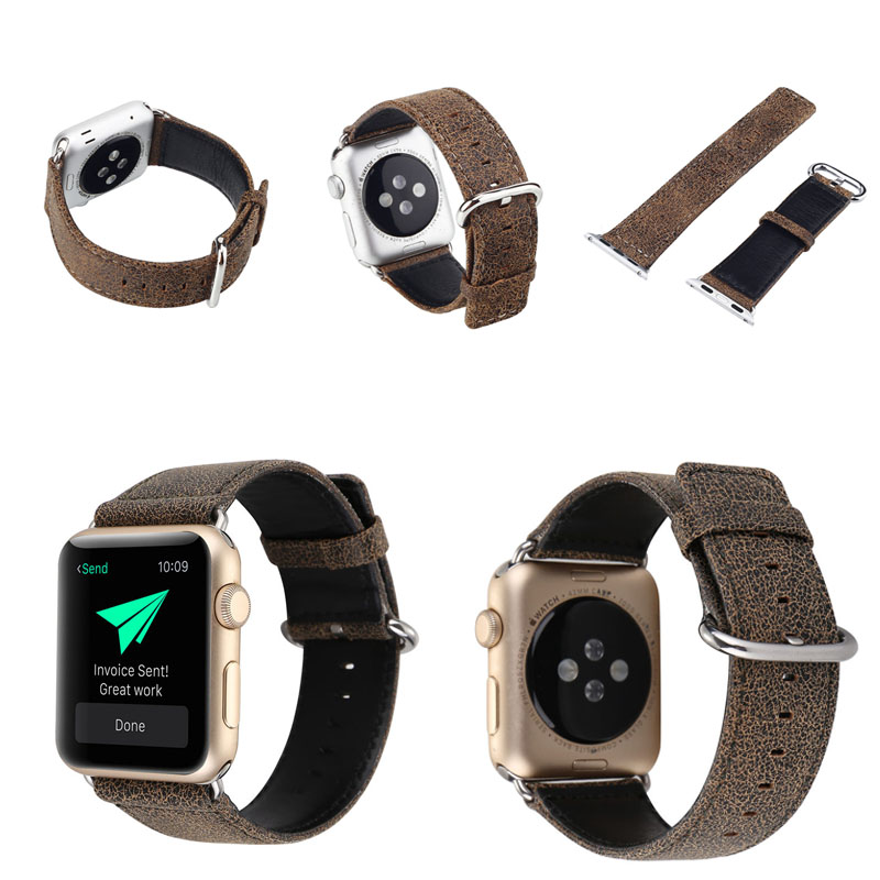 Custom design Leopard cracked leather watch band buckle for Apple Watch