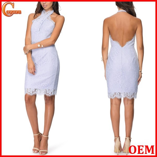 Sexy backless design crossover halter neck evening dress wholesale