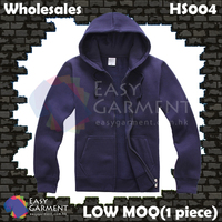 Wholesales Low MOQ HS004 500G Navy Dark Blue Fleece Zip up Sweater Hoodies