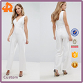 OEM polyester v neck high quality sheer jumpsuit sexy,plain white jumpsuit with front lace