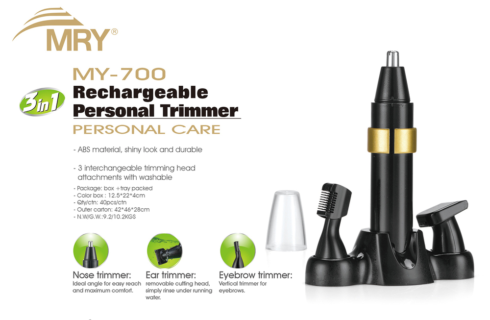 DC motor 3 IN 1Multi-functional rechargeable Hair Trimmer/Nose Trimmer and Eyebrown Trimmer