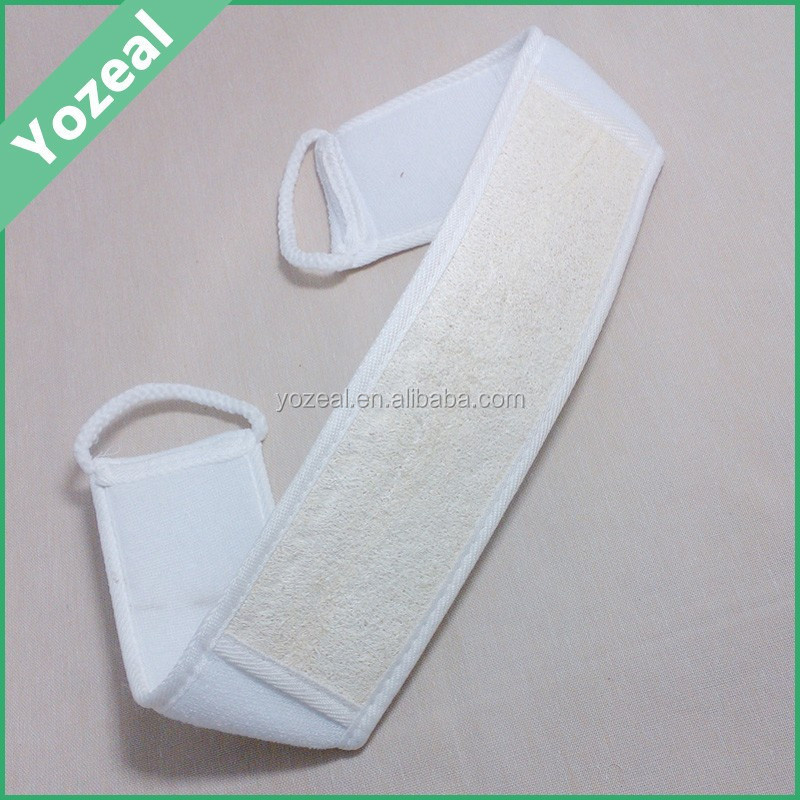 Promotional natural bath loofah back strap and scrubber
