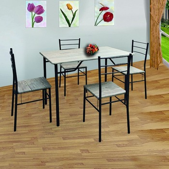 Cheap wooden kitchen table with 4 chair dining table set for sale