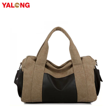 Multifunctional large capacity easy carry khaki canvas one day travel bag